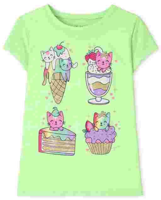Girls Short Sleeve Dessert Cat Graphic Tee