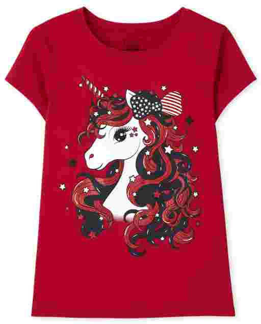 Girls Short Sleeve Americana Unicorn Graphic Tee