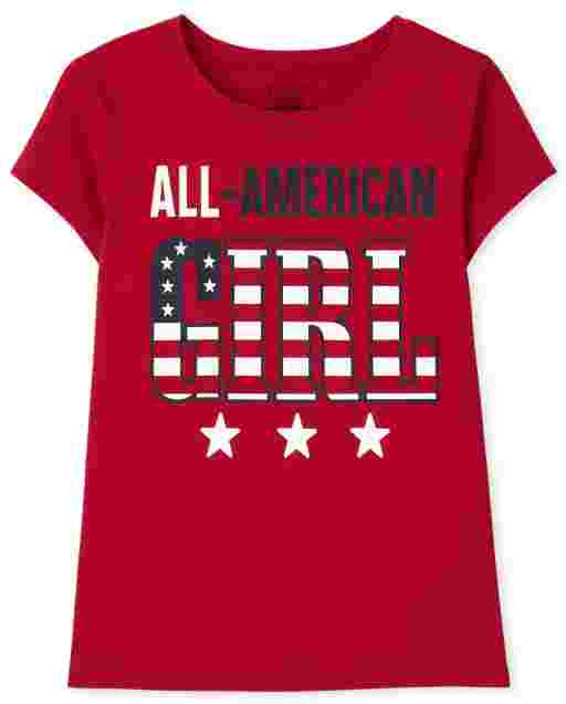 Girls Matching Family Short Sleeve Americana All American Girl Graphic Tee