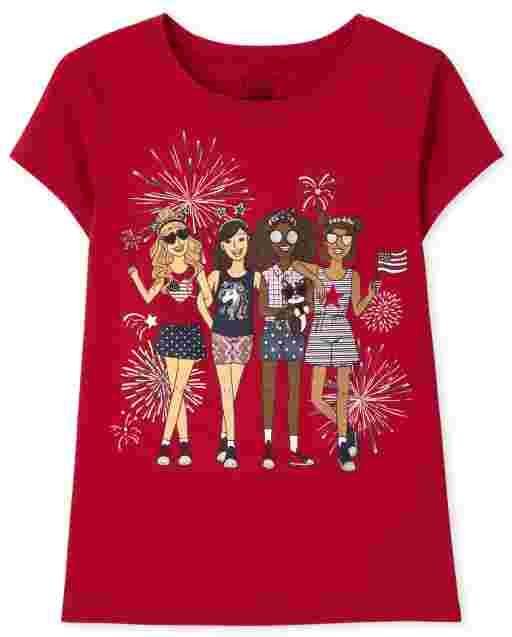 Girls Short Sleeve Americana Girl Squad Graphic Tee