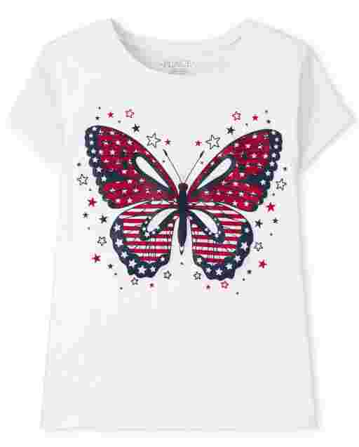 Girls Short Sleeve Americana Butterfly Graphic Tee