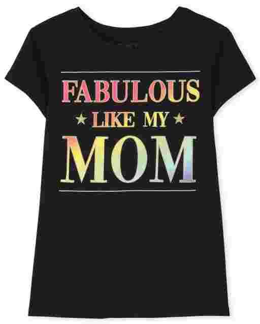 Girls Short Sleeve 'Fabulous Like My Mom' Graphic Tee