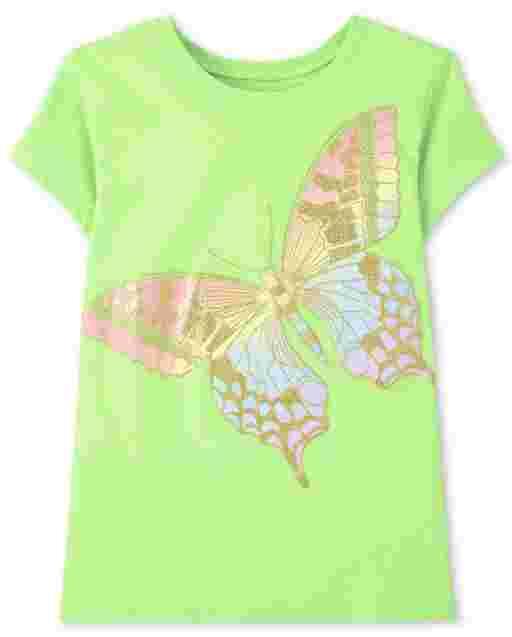 Girls Short Sleeve Rainbow Butterfly Graphic Tee