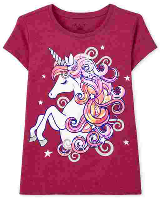 Girls Short Sleeve Unicorn Graphic Tee