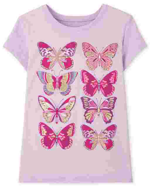 Girls Short Sleeve Butterfly Graphic Tee