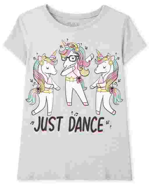 Girls Short Sleeve 'Just Dance' Unicorn Dance Graphic Tee