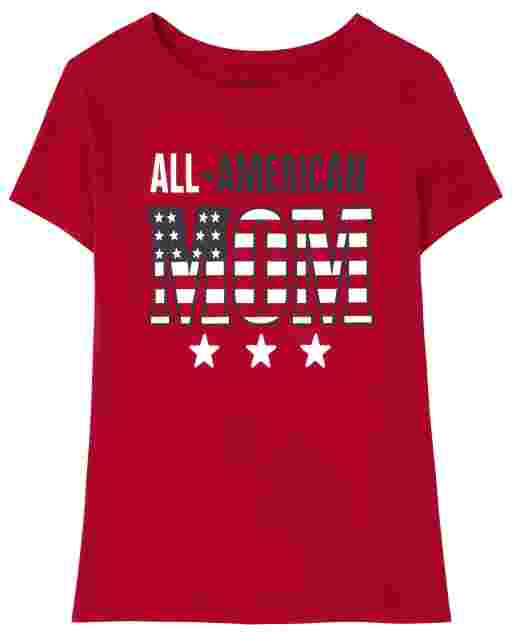 Womens Matching Family Short Sleeve Americana All American Mom Graphic Tee