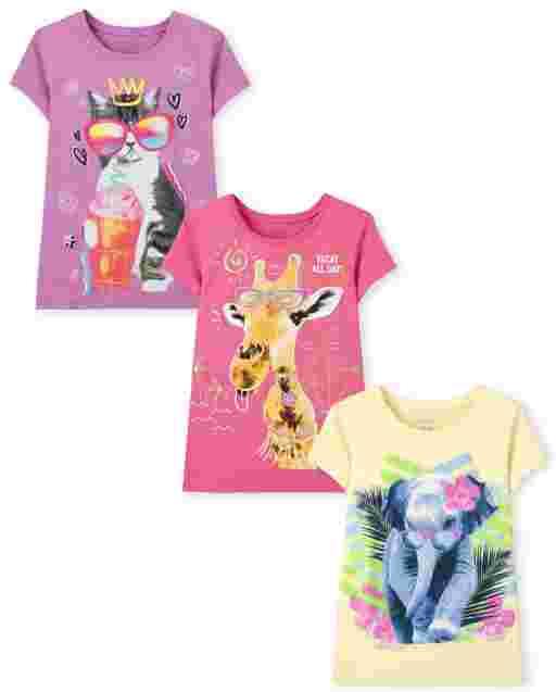 Girls Short Sleeve Animals Graphic Tee 3-Pack