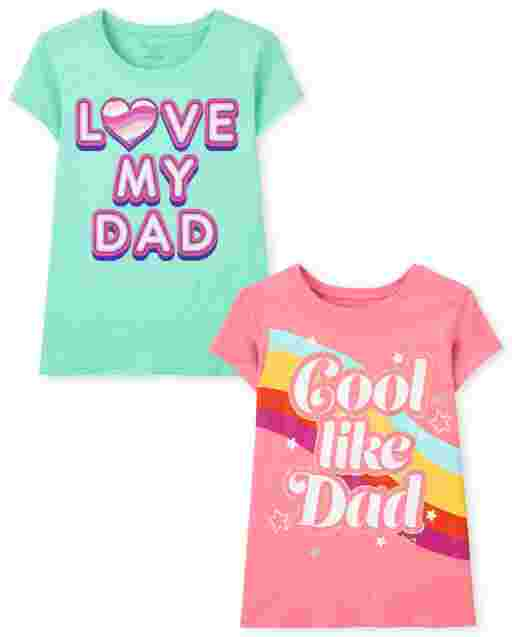 Girls Short Sleeve Dad Graphic Tee 2-Pack