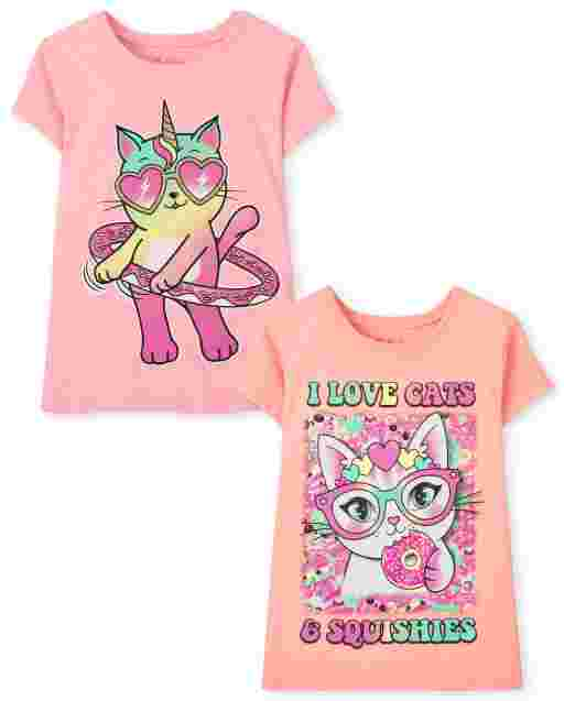 Girls Short Sleeve Cats Graphic Tee 2-Pack