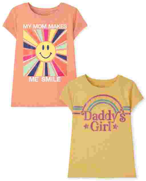Girls Short Sleeve Family Graphic Tee 2-Pack
