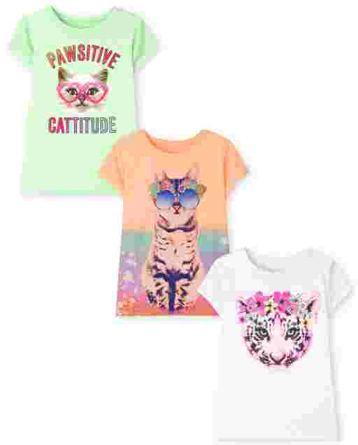 Girls Short Sleeve Cat Graphic Tee 3-Pack