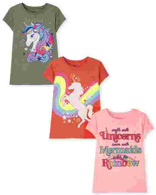 Girls Short Sleeve Unicorn Graphic Tee 3-Pack
