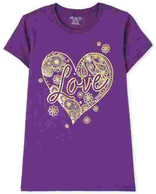 Girls Short Sleeve Love Graphic Tee