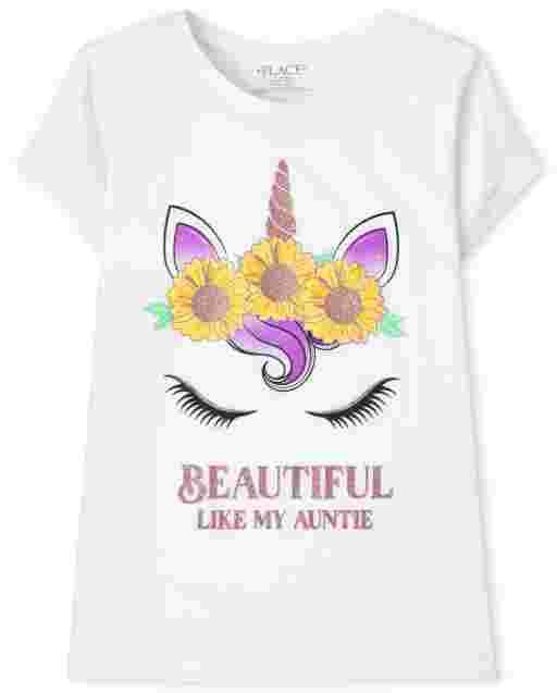 Girls Short Sleeve Unicorn 'Beautiful Like My Auntie' Graphic Tee