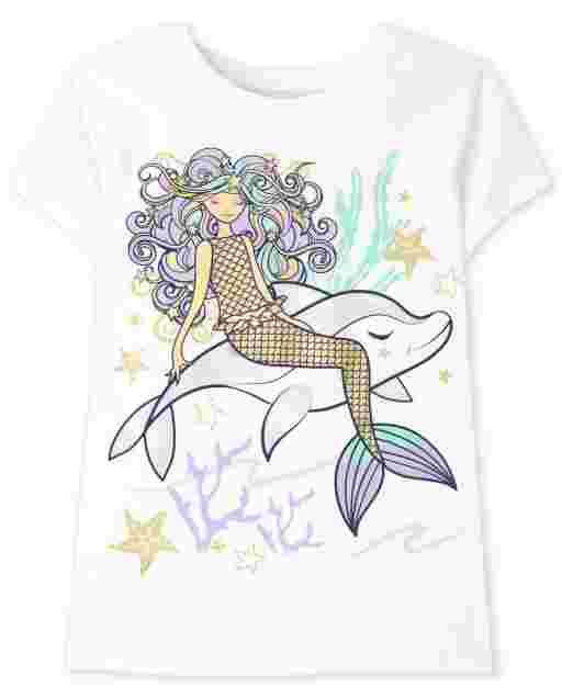 Girls Short Sleeve Mermaid Graphic Tee