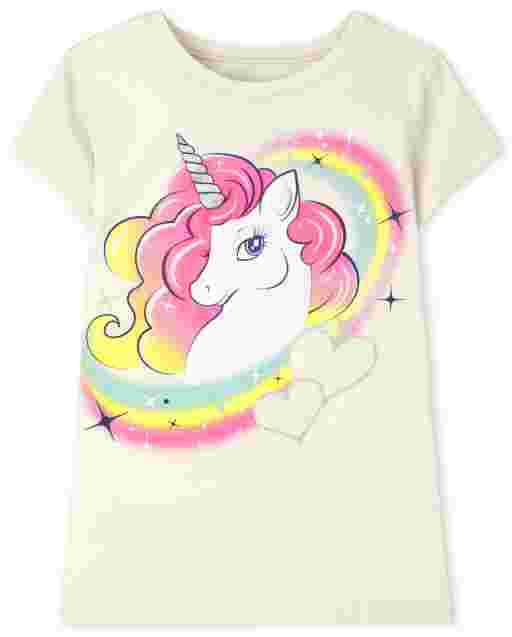 Girls Short Sleeve Unicorn Rainbow Graphic Tee