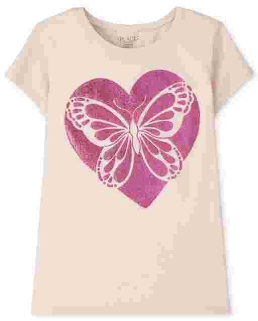 Girls Short Sleeve Butterfly Heart Graphic Tee