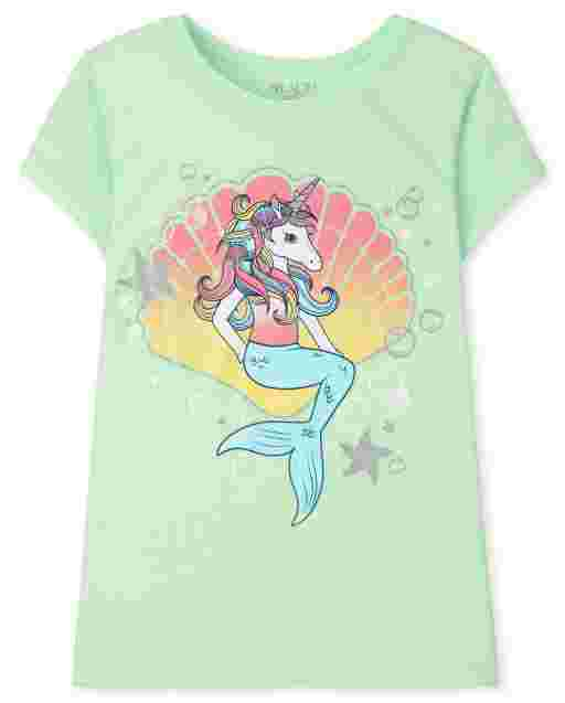 Girls Short Sleeve Unicorn Mermaid Graphic Tee