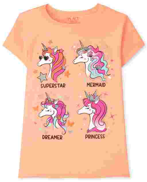Girls Short Sleeve Unicorns Graphic Tee