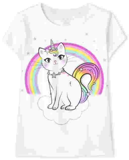 Girls Short Sleeve Caticorn Rainbow Graphic Tee