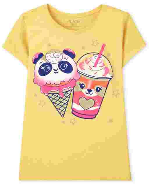 Girls Short Sleeve Critter Dessert Graphic Tee