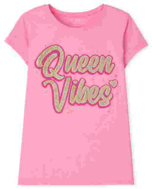 Girls Short Sleeve 'Queen Vibes' Graphic Tee