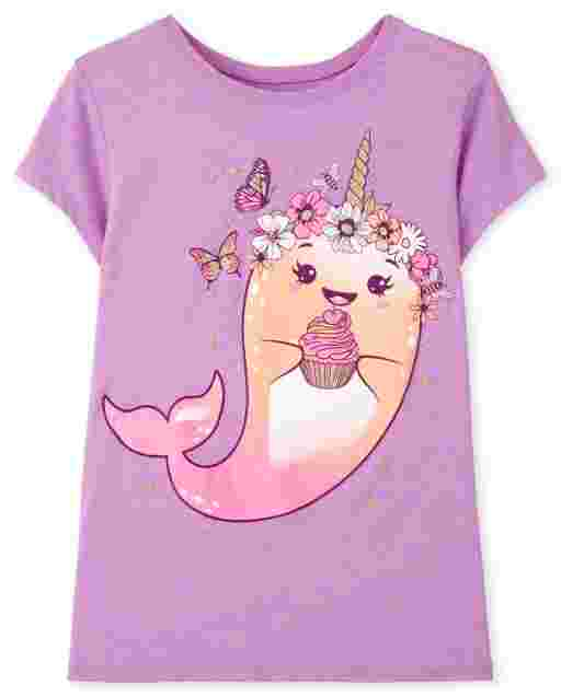 Camiseta estampada Narwhal de manga corta para niñas
