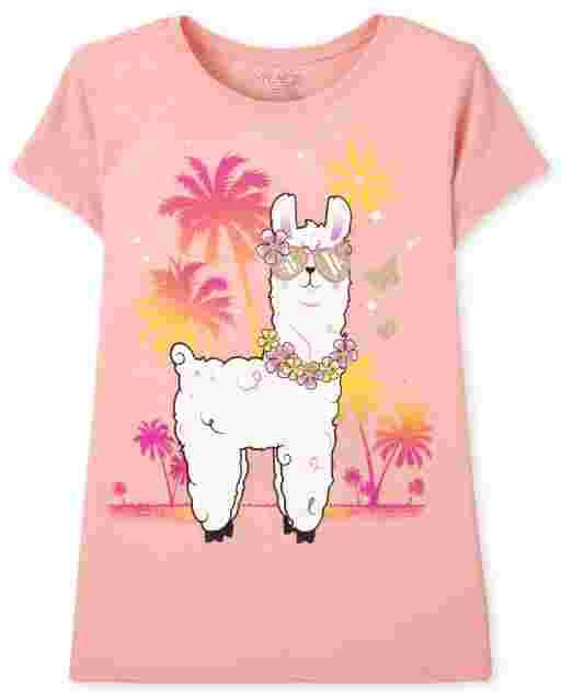 Camiseta de manga corta con estampado de llama para niñas