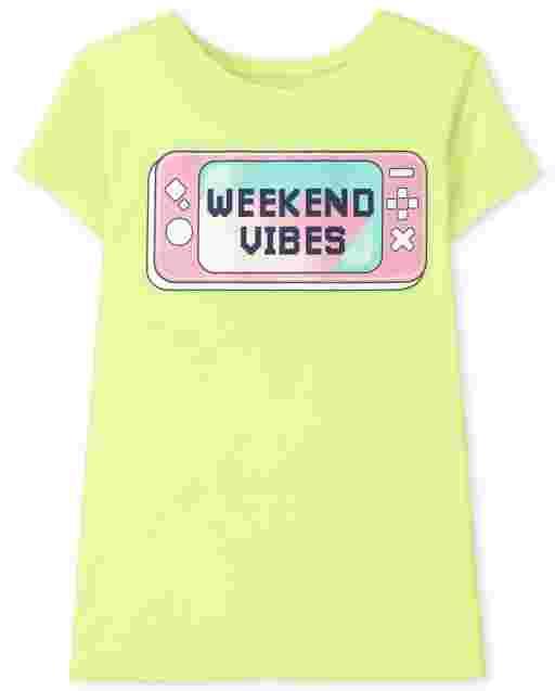 Girls Short Sleeve 'Weekend Vibes' Video Game Graphic Tee