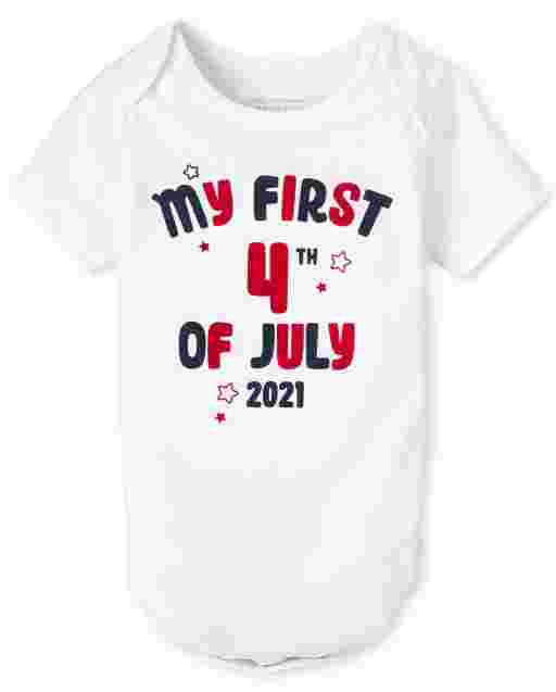Unisex Baby Short Sleeve Americana My First 4th Of July 2021 Graphic Bodysuit