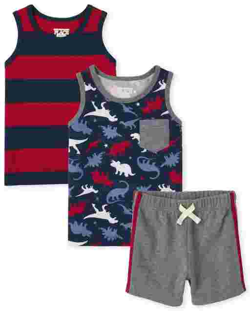 Toddler Boys Mix And Match Sleeveless Dino Print Pocket Tank Top Striped Tank Top And Knit Shorts 3-Piece Set