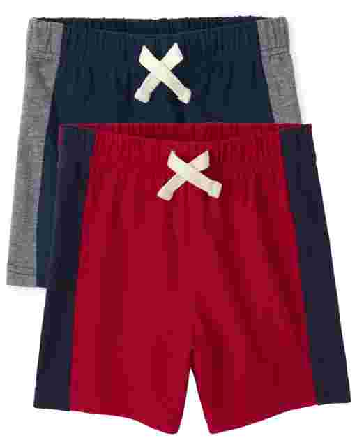 Toddler Boys Mix And Match Side Stripe Knit Shorts 2-Pack