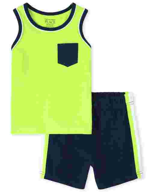 Baby And Toddler Boys Mix And Match Sleeveless Pocket Tank Top And Knit Shorts 2-Piece Active Set