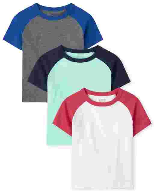 Toddler Boys Short Sleeve Raglan Top 3-Pack