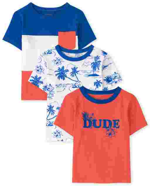 Baby And Toddler Boys Short Sleeve 'Dude' Top 3-Pack