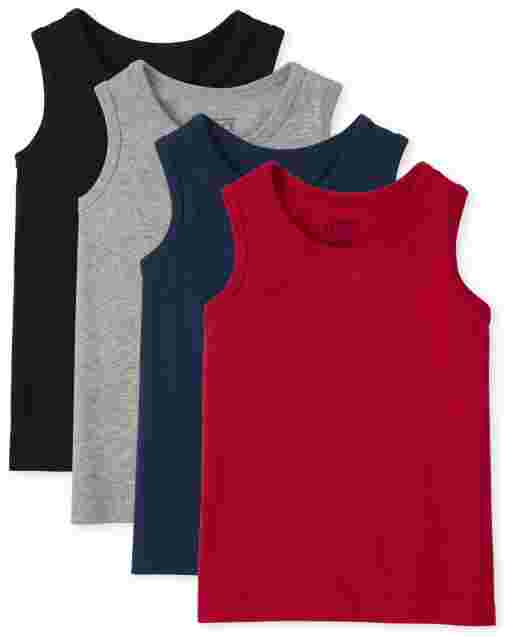Toddler Boys Mix And Match Sleeveless Tank Top 4-Pack