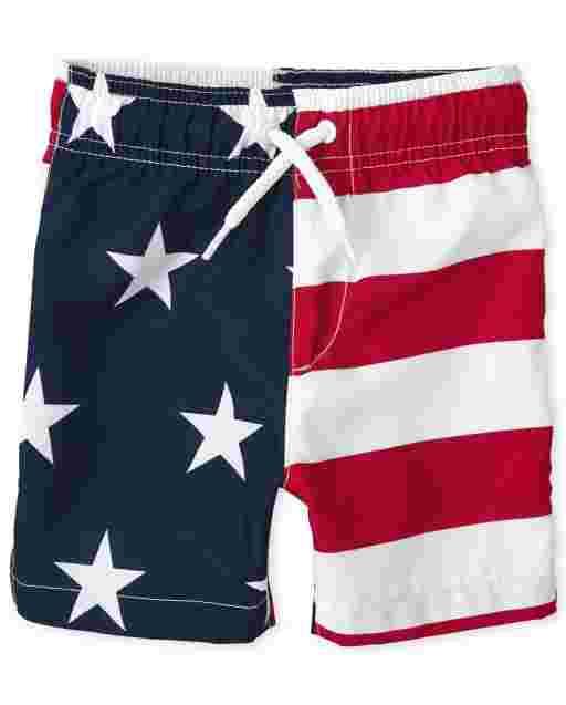 Toddler Boys Americana Flag Swim Trunks