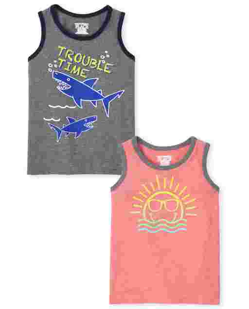 Baby And Toddler Boys Mix And Match Sleeveless 'Trouble Time' Shark And Sun Tank Top 2-Pack