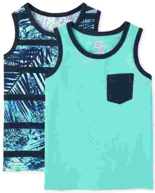 Toddler Boys Mix And Match Sleeveless Pocket Tank Top 2-Pack