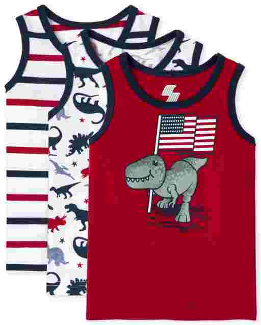 Toddler Boys Americana Mix And Match Sleeveless Dino Tank Top 3-Pack