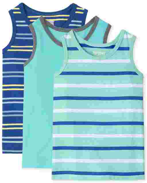 Baby And Toddler Boys Mix And Match Sleeveless Striped And Pocket Tank Top 3-Pack