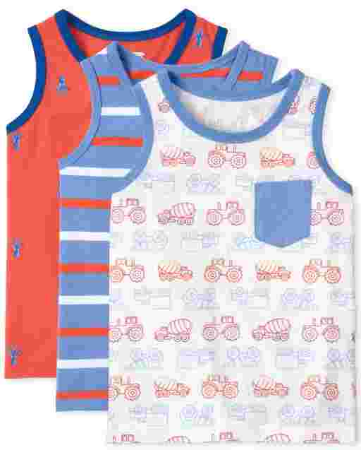 Toddler Boys Mix And Match Sleeveless Print Tank Top 3-Pack
