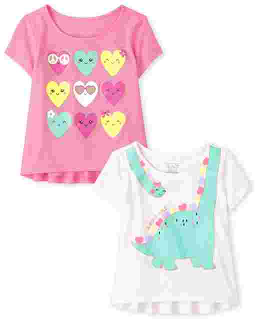 Toddler Girls Short Sleeve Graphic Top 2-Pack