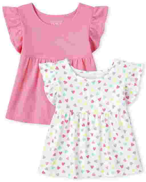 Toddler Girls Short Sleeve Heart Print And Solid Ruffle Top 2-Pack