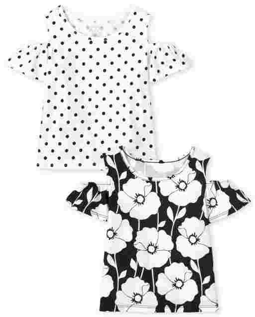 Toddler Girls Short Sleeve Floral And Dot Print Cold Shoulder Top 2-Pack