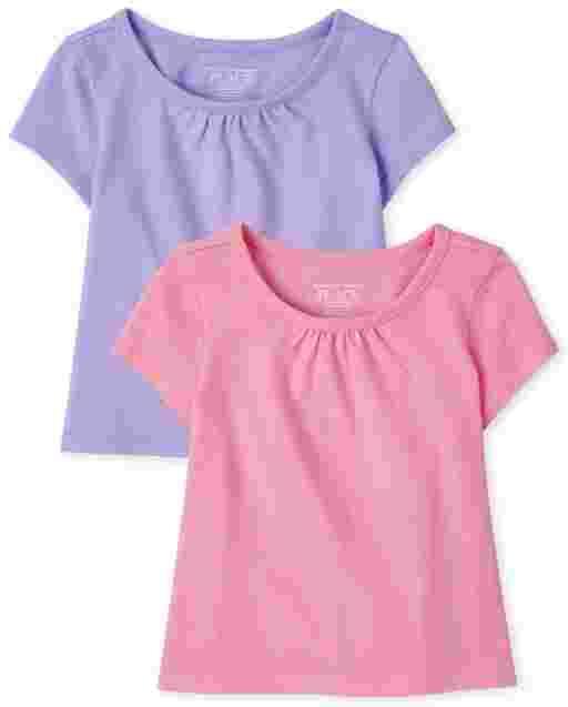 Toddler Girls Short Sleeve High Low Top 2-Pack