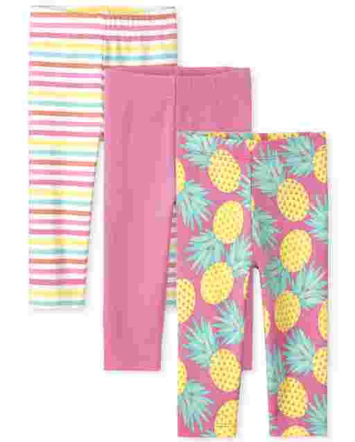 Paquete de 3 leggings capri de punto para niñas pequeñas