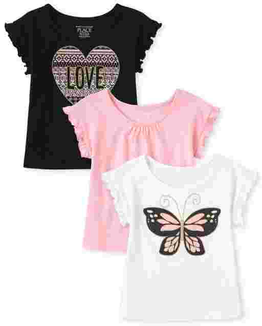 Toddler Girls Short Sleeve Butterfly Love Graphic Top 3-Pack