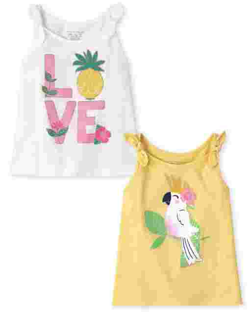 Toddler Girls Mix And Match Sleeveless Graphic Bow Tank Top 2-Pack